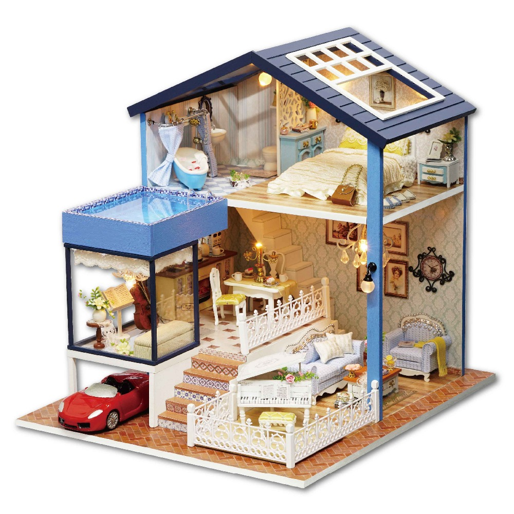 24th DIY Wooden Handcraft Doll House 3D Model Kit- Miniatures Dollhouse-Beatiful Villa &Furnitures with red car red house diy a1058