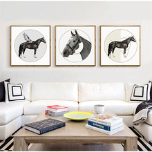 HAOCHU Nordic Animal Decorative Painting Horse Geometry Round Home Living Room Bedroom Study Wall Art Canvas Print Poster  Mural