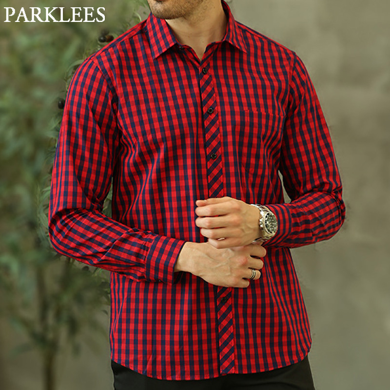 100% Cotton Red Plaid Shirts Casual Slim Fit Long Sleeve Button Up Check Shirts Soft Work Street Wear Plus Size Chemise Homme 4x Ture 100% Guarantee