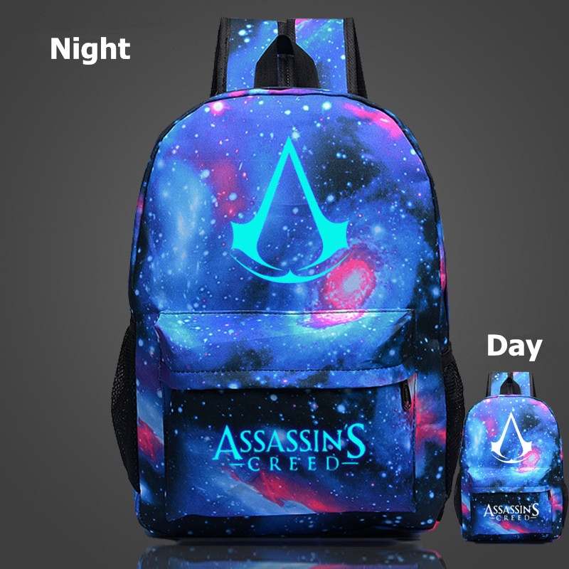 Flyone New Design Backpack Assassins Creed Backpacks Luminous 10 Colors School Bags For Teenagers Backpack Canvas Printing Bags assassins creed cosplay backpack men school bags official assassins creed syndicate logo school backpacks bag rucksack