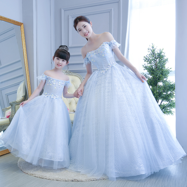 Family Matching Outfits 2017 Mother Daughter Princess Dresses Wedding Party Clothes Mom And Elegant