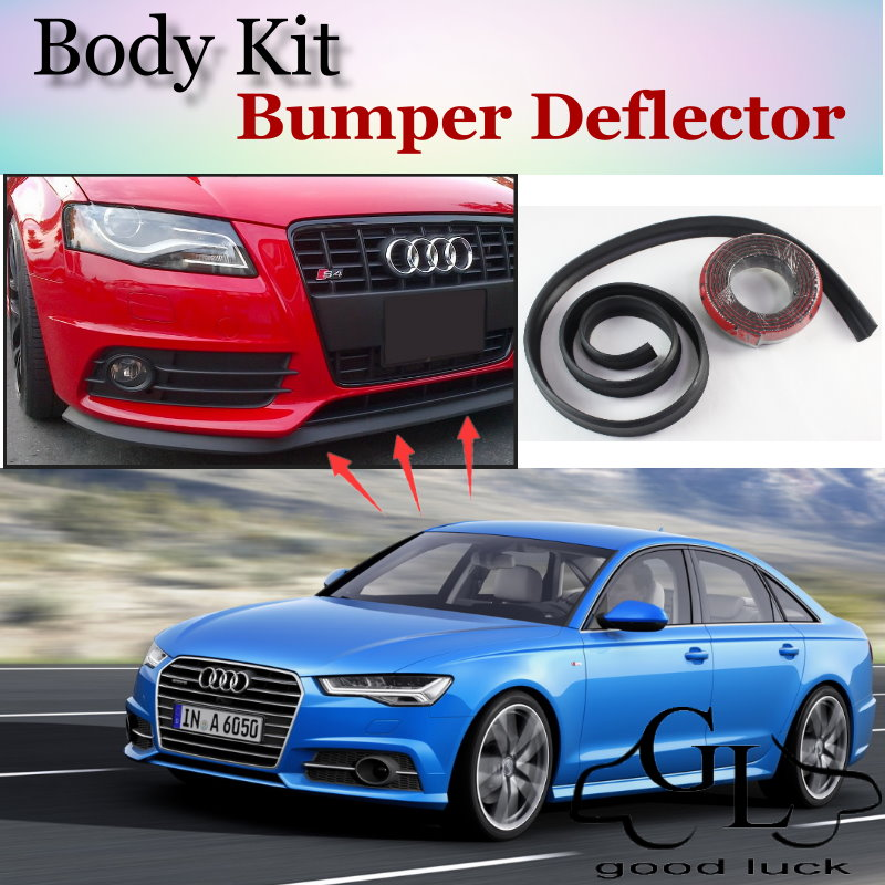 Bumper Lip Lips For Audi A6 S6 RS6 2004~2015 / Car Lip Shop Spoiler Scratch Proof Adhesive / Car Lip Skirt Body Kit + Strip image
