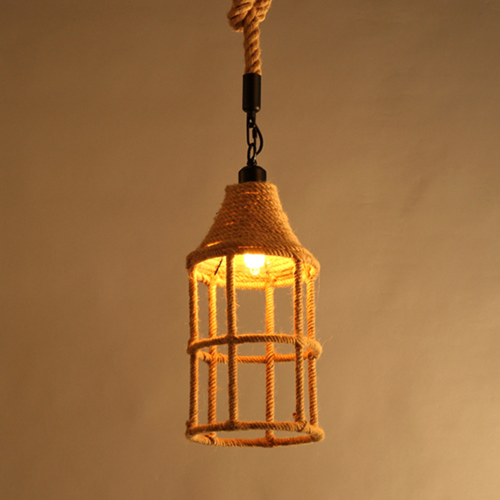 American country retro pendant lamp Vintage hemp Rope Pendant Light Loft Industrial pendant Lamp Edison Bulb hemp rope chandelier antique classic adjustable diy ceiling spider lamp light retro edison bulb pedant lamp for home