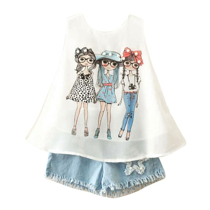 Blue Color 2017 Lovely Toddler Kids Baby Girls Summer Outfit Clothes Print Vest T-Shirt+Short Pants Set drop shipped ST28 2pcs children outfit clothes kids baby girl off shoulder cotton ruffled sleeve tops striped t shirt blue denim jeans sunsuit set