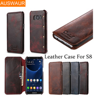 100 Genuine Leather Business Cases For Samsung Galaxy S8 S8PLUS Wallet Flip Cover Case For Galaxy