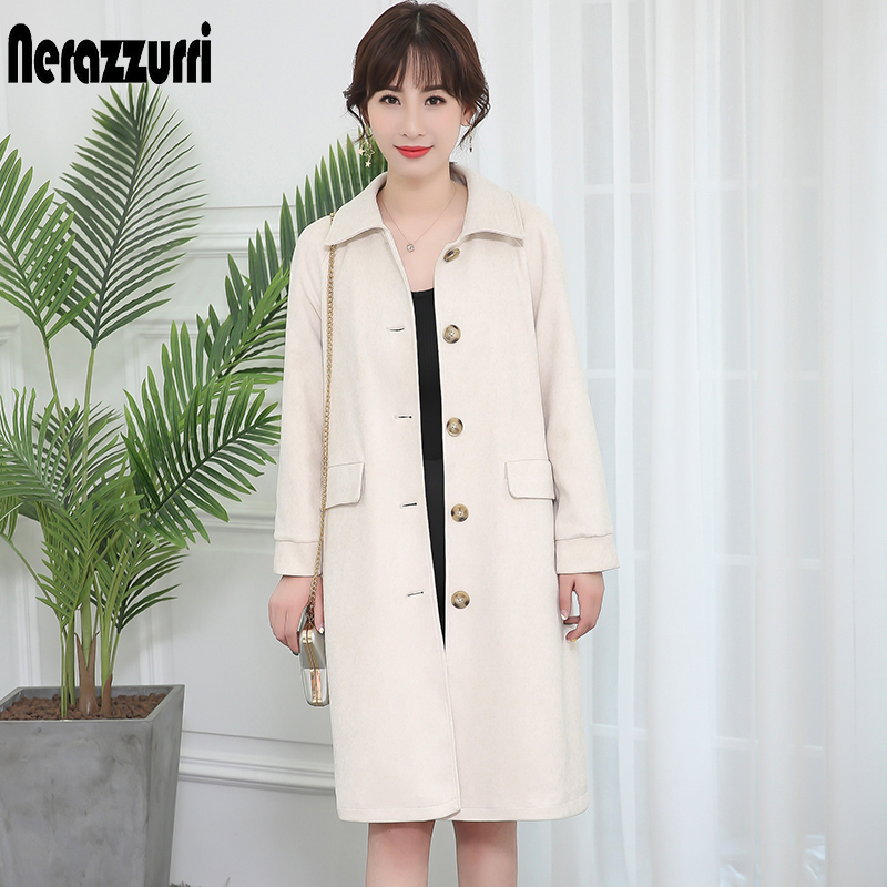 Nerazzurri   trench   coat for women suede outwear raglan sleeve off white black with buttons and pockets big size faux leather coat