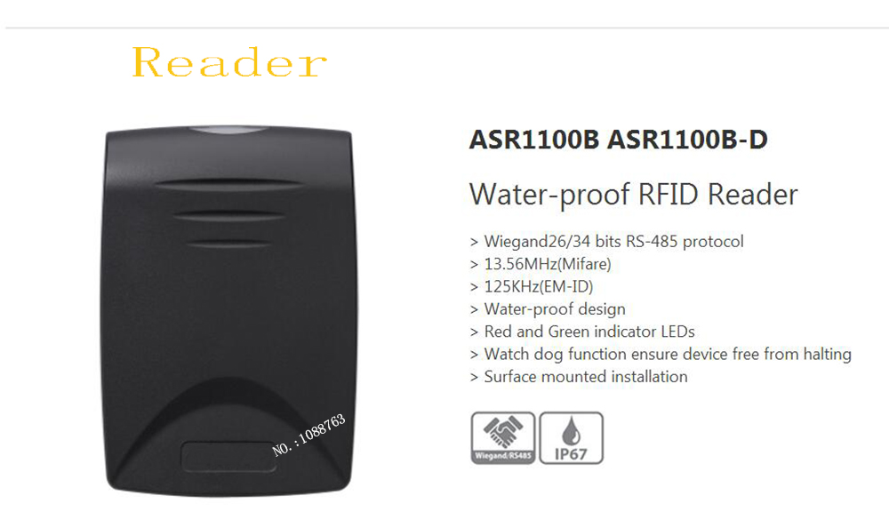 Free Shipping DAHUA Access Control RS485 Waterproof RFID Reader Watch Dog Function Without Logo ASR1100B dahua waterproof power box without logo pfa140
