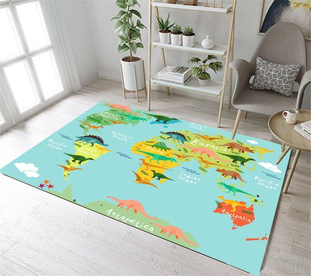 LB Cartoon World Map Light Blue Kitchen Area Rug For Living Home Room In Carpet For Bedroom Non-slip Absorbent Children Doorway