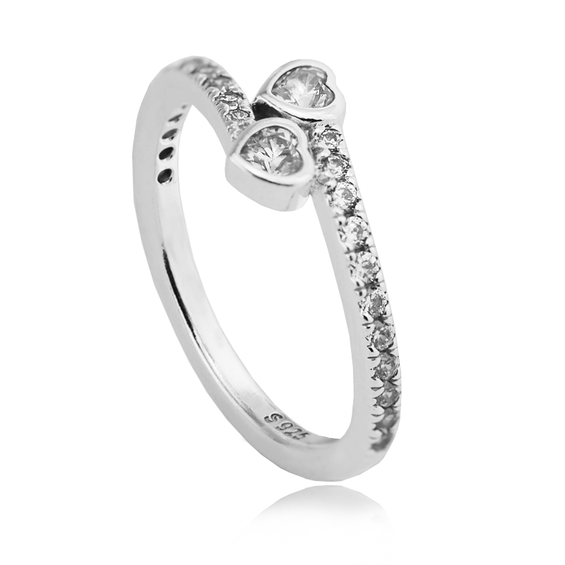 FLR107.1 2017 Valentine\'s Day Ring Women 100% 925 Sterling Silver Clear CZ Forever Hearts Rings For Women Ring Fits European Jewely  (4)