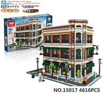 2016 LEPIN 15017 4616Pcs City Street Creator Starbucks Bookstore Cafe Model Building Kit Minifigure Brick Compatible With Legeod