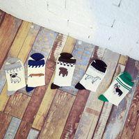 Мужские унисекс мультфильм собака щенки длинные хлопковые носки экипажа контрастного цвета Зимние