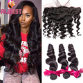 India Virgin Hair Lace Frontal Closure With Bundles Loose Wave Hair 4 Bundles With Closure Human Hair Bundles With Lace Frontals