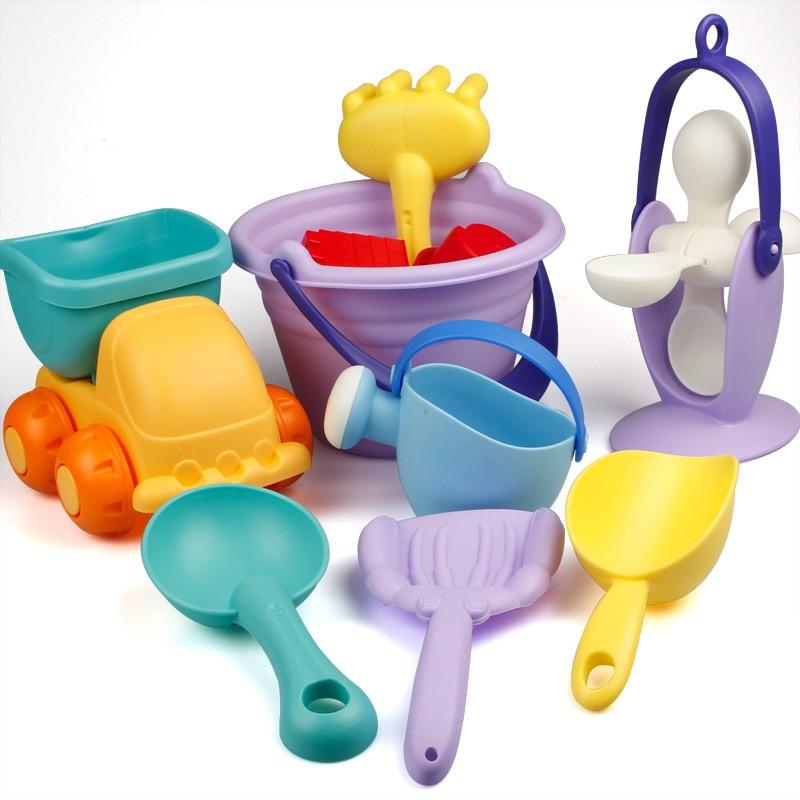 NEW Kids Beach Sand Toys Set Kids Outdoor Toys Beach Bucket Beach Shovel Tool Kit Sandbox Toys for Toddlers Flexible Glue PVC