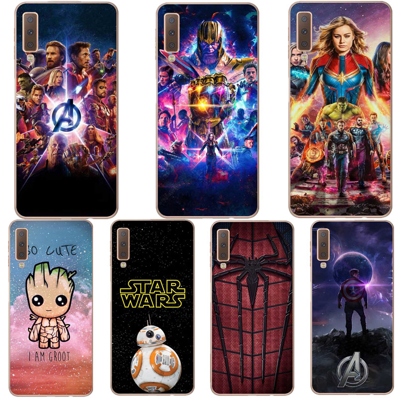 Movie hero Comics Deadpool Iron Man Spider-man Venom Silicone Phone Case Cover For Samsung A30 A50 A10 A7 2018 A750 A6 A8 Plus image