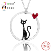 New Arrival Necklace 925 Silver Pendants Chain Necklaces Cute Cat Hanging Coiller Authentic Sterling Silver Jewelry for Women