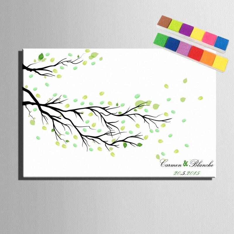 Diy Fingerprint Signature Canvas Painting Branches Leave Wedding