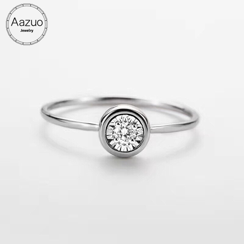 Aazuo 100 18K White Gold Au750 Real Diamonds IJ SI Mini Round Ring For Women Engagement