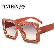 PAWXFB 2019 New Square Diamond Sunglasses Ladies Oversized For Women Luxury Brand Designer Eyeglasses Big Frame Glass