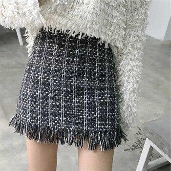 Mini Skirt Winter Vintage Straight Plaid Tassel