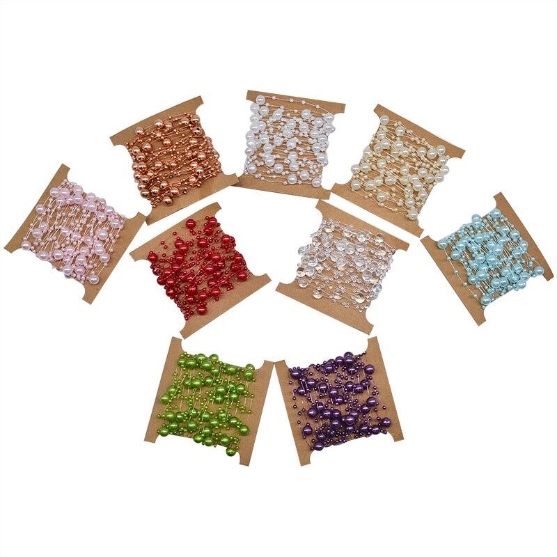 5 м многоцветный леска искусственный жемчуг бусины цепи гирлянда цветы для Свадебная вечеринка украшения DIY свадебный букет