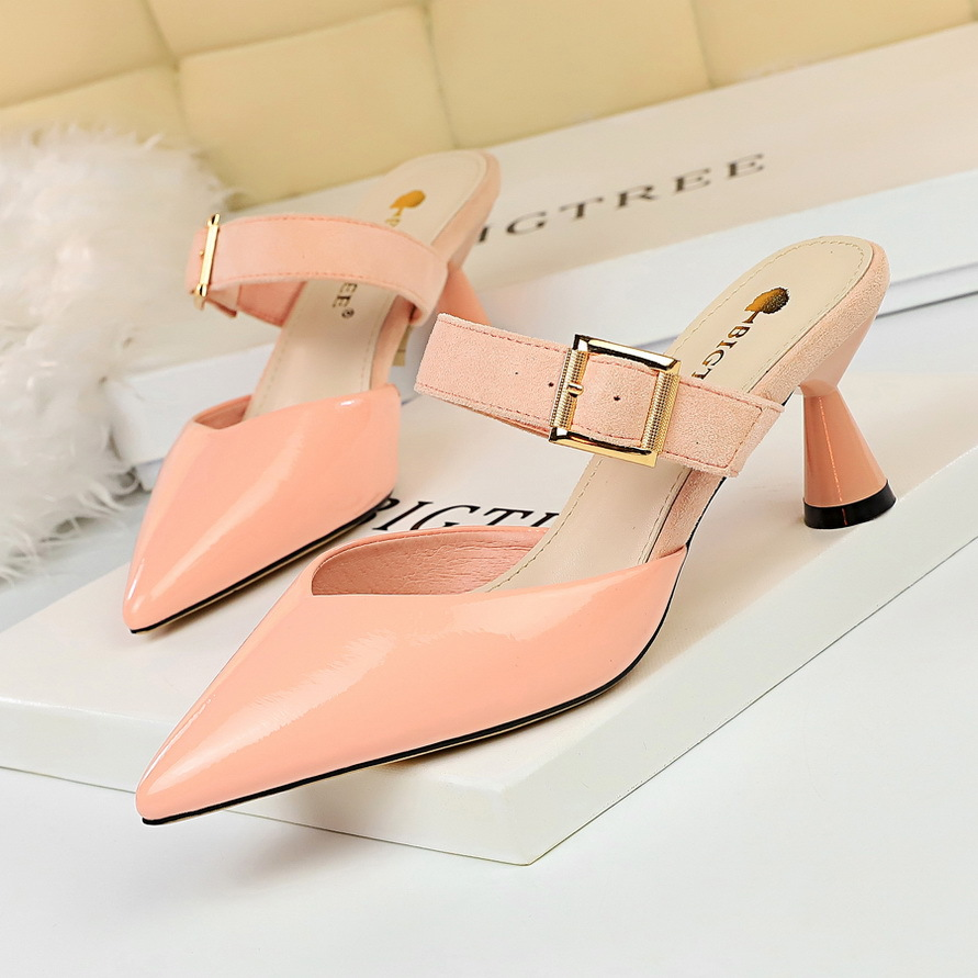 2019 Brand High Heels Slippers Pointed Toe Shoes for Women Slip-On Designers Summer Party Wedding Pumps Ladies Block Heel Shoes