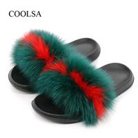COOLSA Women S Furry Slippers Ladies Cute Plush Fox Hair Fluffy Slippers Women S Fur Slippers