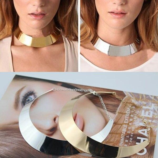 Hot 2015 thiết kế mới european vàng mạ bạc Punk cong gương kim loại miếng dây chuyền cổ áo cho phụ nữ phụ kiện