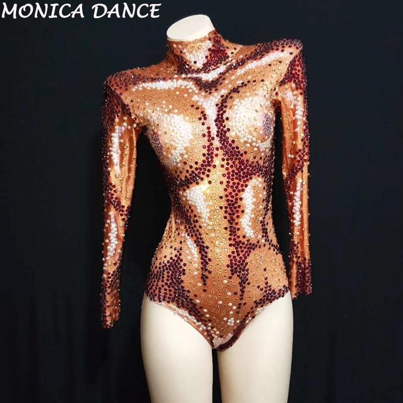 Ab Chanteuse Strass Stretch Grand Sexy Ds Danse Costume Bodysuit Tenue Scintillant De D'anniversaire Discothèque Justaucorps Perles Orange Body wEO41nSq1C