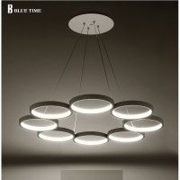 6 Rings 8 Rings Modern Pendant Lights Kitchen Acrylic Metal Suspension Hanging Ceiling Lamp For Dinning