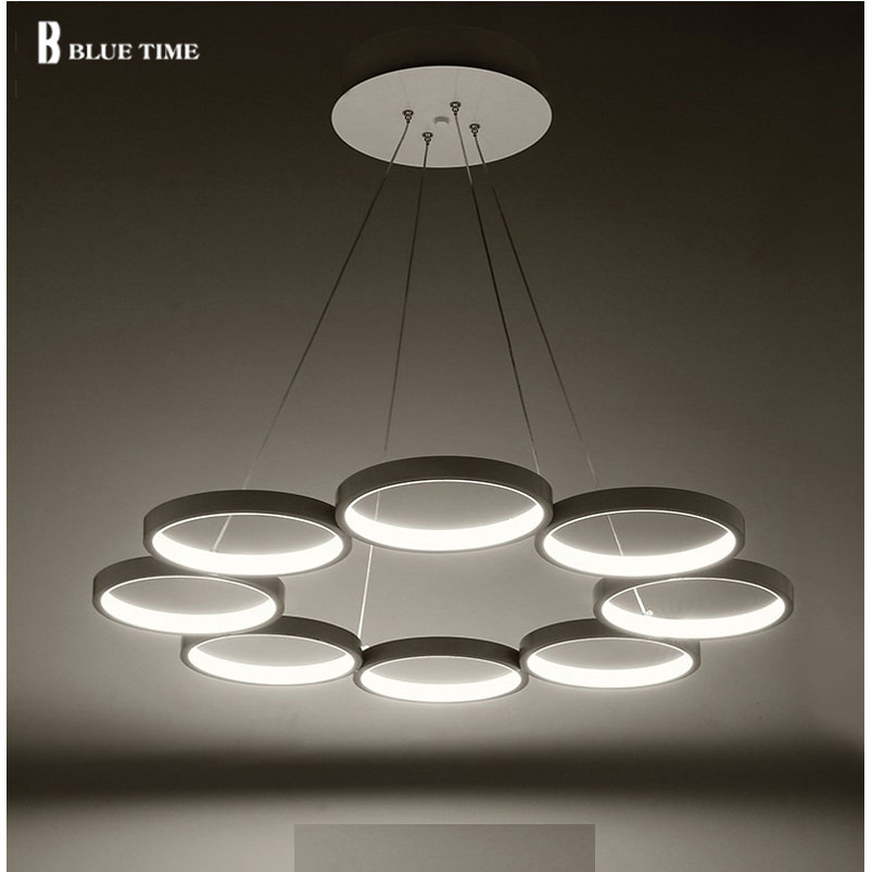 6 rings 8 rings modern pendant lights kitchen acrylic for Suspension metal cuisine