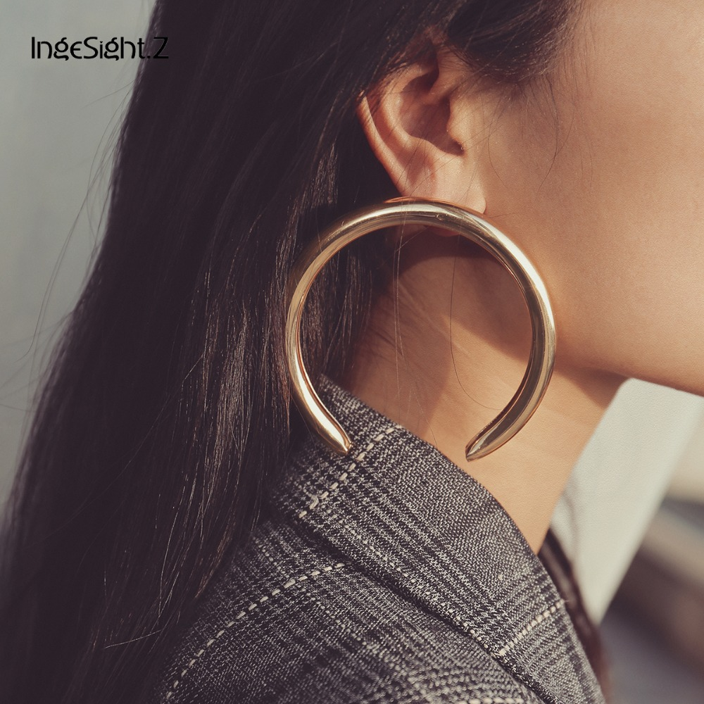 IngeSight.Z 8cm/5cm Punk Exaggerated Thick Tube Round Circle Stud Earrings 2018 Korean Half Moon Earrings for Women Jewelry Gift