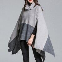 DSQUAENHD Winter Warm Rollkragen Mantel Ponchos für Elegante Frauen Patchwork Pullover Asymmetrische Stricken Mantel Capes Plus Größe