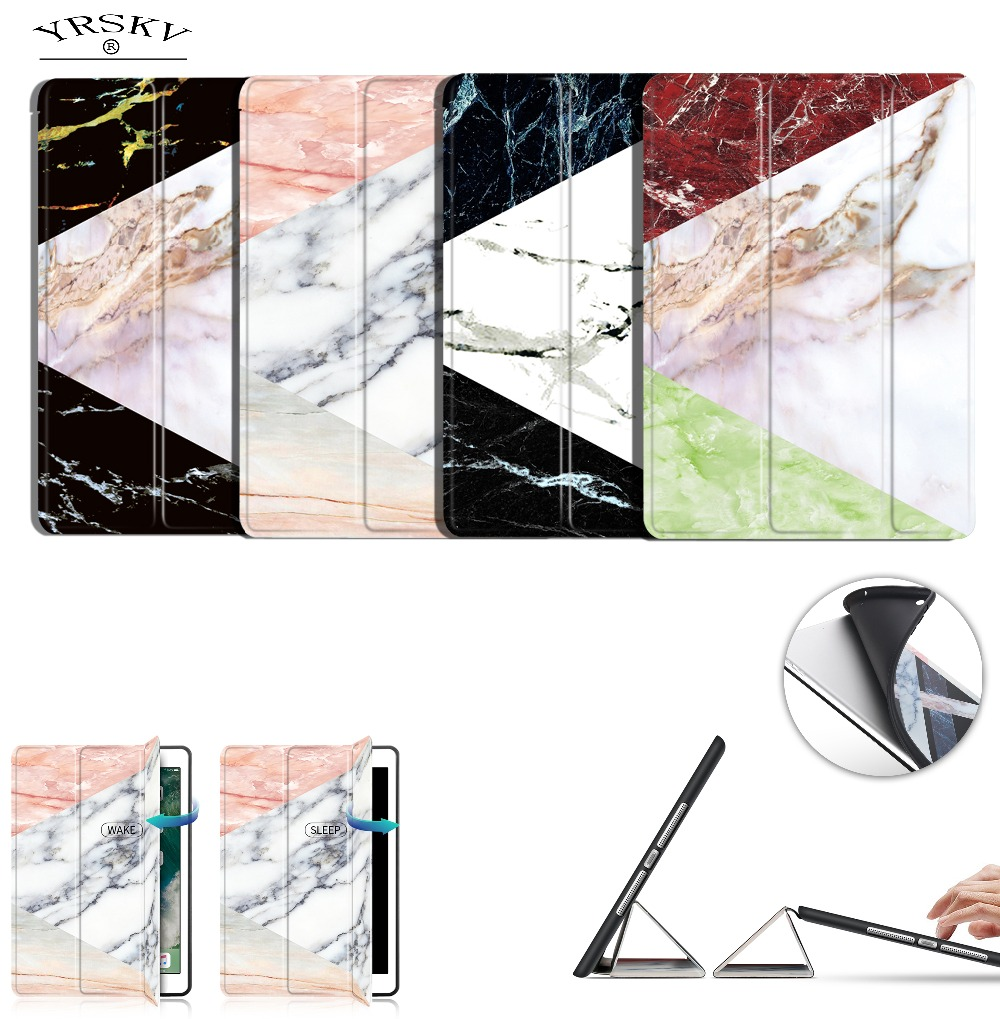 case for iPad 9.7 inch 2017/2018 release YRSKV Smart wake up sleep Marble Pattern Foldin ...
