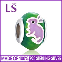 LS Authentic s925 sterling silver jewelry Bead Charm Enamel Rabbit Round Charms Fit Original Bracelets Jewelry