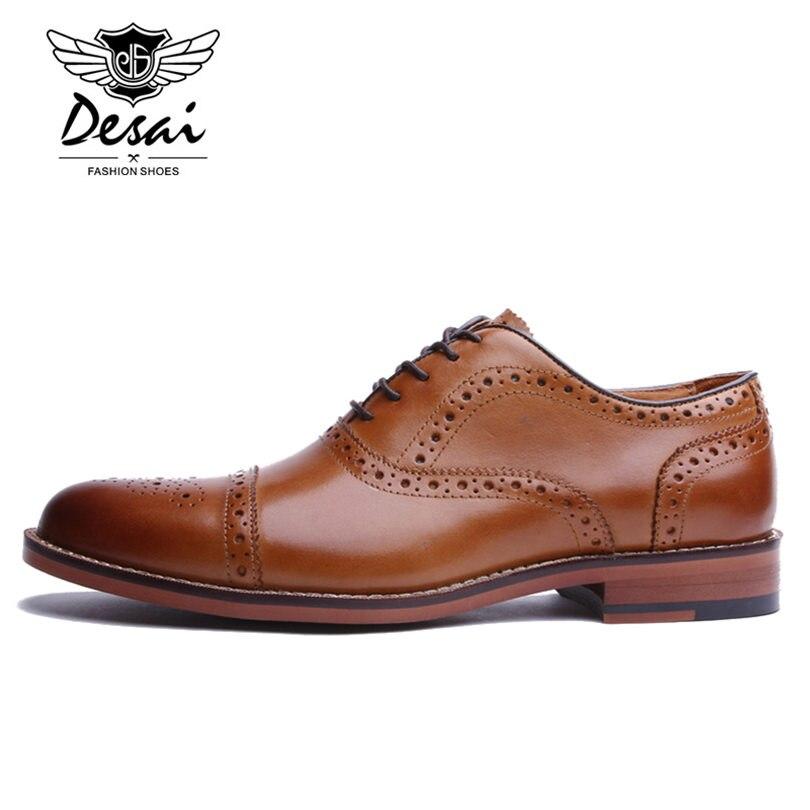 Desai marca masculina de couro genuíno oxfords sapatos masculinos estilo britânico esculpida brogue sapato laço up bullock negócios vestido sapatos apartamentos - 2