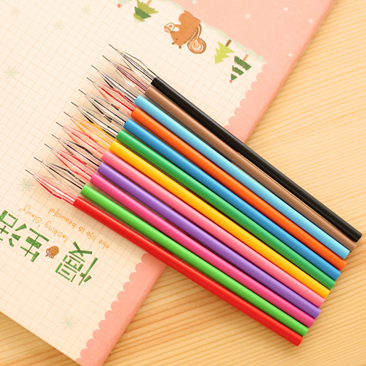 12 PCS Diamond Head Factory Direct Creative Stationery Candy Color Gel Pen Refills For The Core 0.38mm 12 Color Office Material aidocrystal heart shape factory direct sell fashion woman diamond clutch for lady