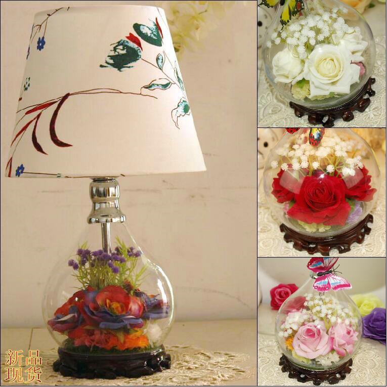 Сохранилось Свежий цветок стекло настольная лампа мода спальня ночники современный краткое деревенский настольная лампа