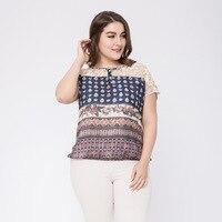 2018 Lace Summer Women Blouse Shirts Plus Size Elegant Office Bohemian Short Sleeve Printed Chiffon Embroidery