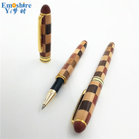 Emoshire Free Shipping Top Brand Ball Pens Vintage Wooden Ballpoint Pen Customized Student Graduation Gift Can