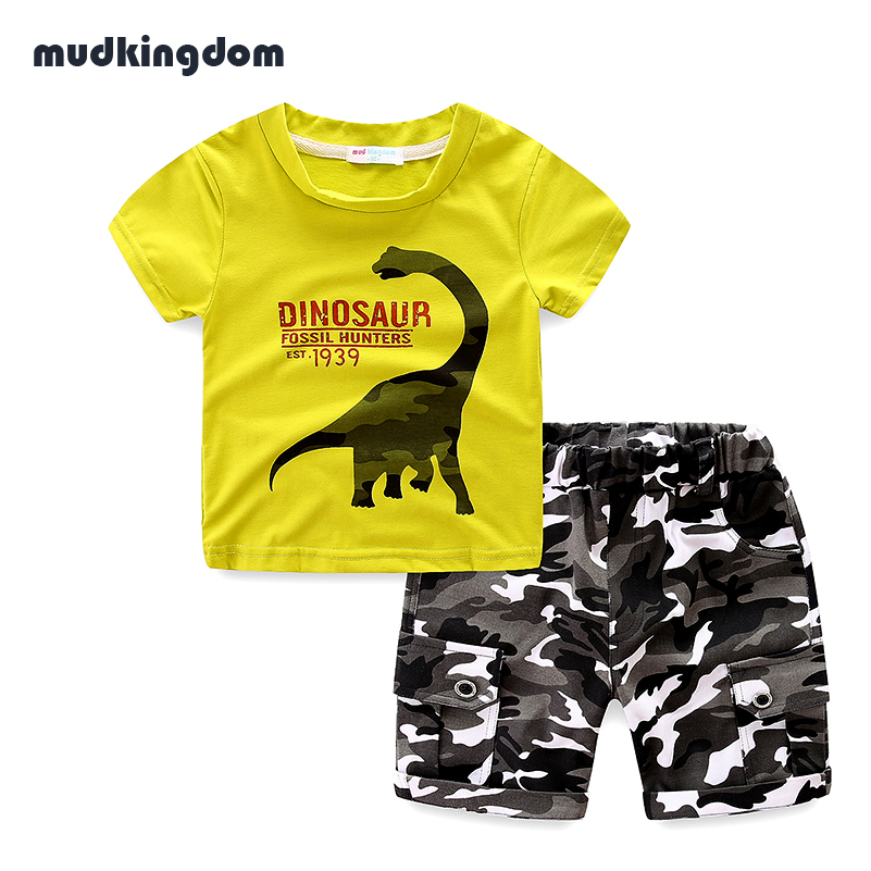 MudKingdom Toddler Boys Summer Dinosaur Printing Outfits Kids Baby Boy Clothes Children Clothing Sets Camouflage Shorts for Boys