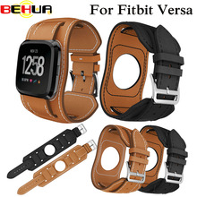 купить Genuine Leather Wrist band for Fitbit Versa Sport Watch Strap Bracelet for Fitbit Versa Smart Watch Straps Wriststrap Watchbands по цене 513.47 рублей