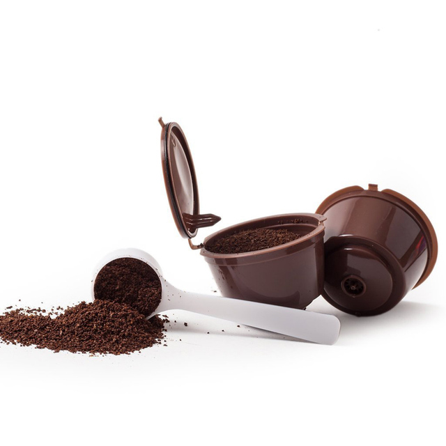 ( 3pcs/lot ) Brown Reusable Coffee Capsules Plastic Refillable Filter Baskets Compatible Dolce Gusto Coffee Machine Maker
