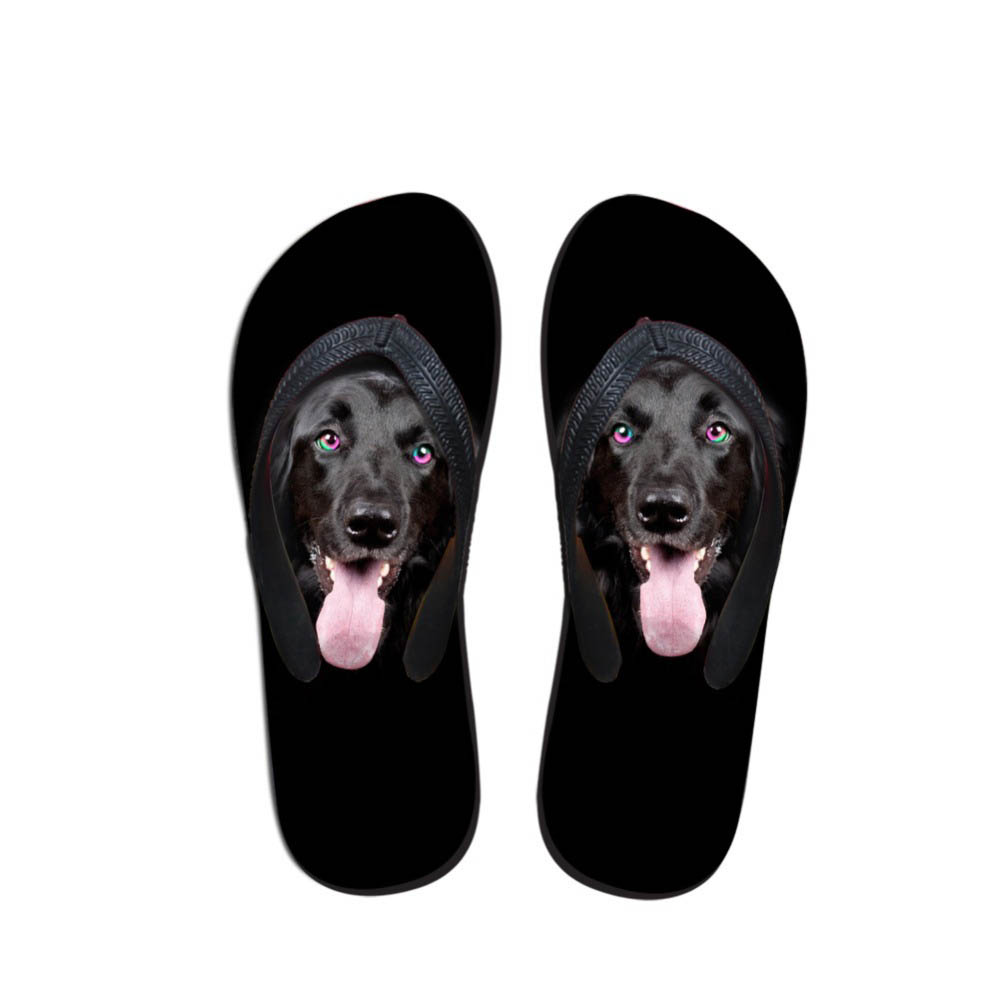 Men Flip Flops in Men's Sandals Dog Pattern Black Flip Flops Studnets Comfort Sandals Slippers Animals Design Outdoor
