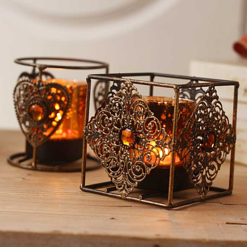Antique Style Glass & Metal Vintage Tea Light Candle ... on Antique Style Candle Holder Sconces id=31637