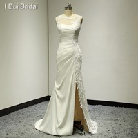 Illusion Tulle Lace Appliqued Sheath Wedding Dresses Unique Design Split Leg Assymetric Design Factory Custom Made