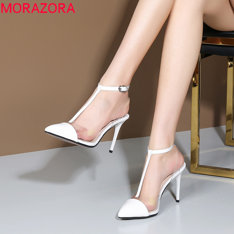 MORAZORA 2019 top quality patent leather shoes women pumps Transparent thin high heels shoes summer party