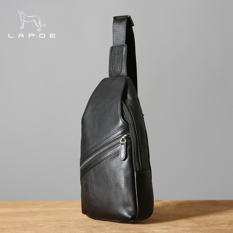 Casual Shoulder Bag For Men Chest Bag Genuine Leather Pack Man Crossbody Bags Multipurpose Hasp Zipper Design Sling Shoulder Bag slim fit design mega storage capacity holster shape chest bag for men armpit oxter sling bag