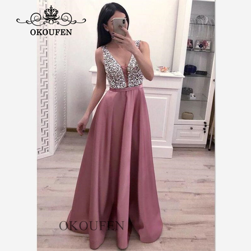 2019 Sparkling Sequined Top Long   Prom     Dresses   For Women Heavy Beading Deep V Neck A Line Evening   Dress   Formal Party Gown