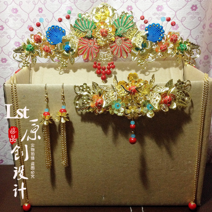 Liang Yuan 6 designs Traditional Chinese Wedding Qipao Xiuhefu Costume Accessory Bride Hair Accessory Set