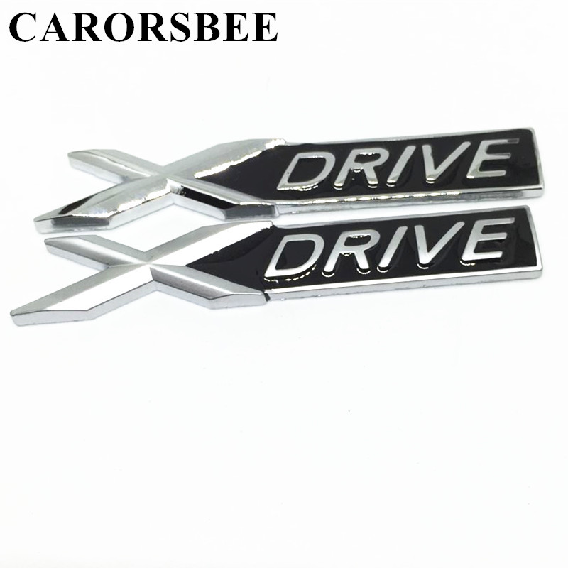 CARORSBEE 3D Chrome Metal XDRIVE X DRIVE Emblem Logo Sticker Badge Decal Car Styling For BMW X1 X3 X5 X6 E36 E53 E90 F10 F30 e46 soarhorse car rear trunk lid emblem badge chrome letters 320i 325i 328i 330i 335i sticker for bmw 3 series e30 e36 e46 f30 e90